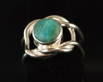 Sterling Silver and Turquoise Knot Ring Size 5 3/4