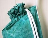 Yoga Mat Bag in teal batik fabric