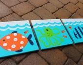 Sealife Ocean 3-pc Kids Wall Art for bathroom
