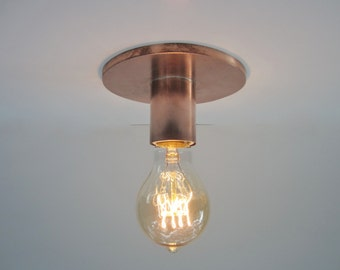 Flush Mount Ceiling Light or Wall Sconce Light - Copper Minimalist Fixture - Industrial Lighting - Exposed Edison Bulb - Indoor or Outdoor
