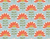 Organic Cotton Fabric-monaluna -Meadow- FOLK FLOWERS - low shipping