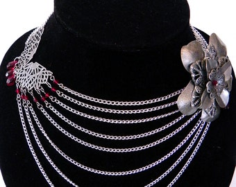 Necklace Neo-Victorian Metals Steampunk Silver Flower Asymmetrical Bib style collar