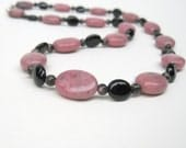 Pink rhodonite necklace with black onyx, long pink necklace, onyx necklace