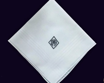 Men's Personalized White Cotton Blend Handkerchief Custom Monogrammed