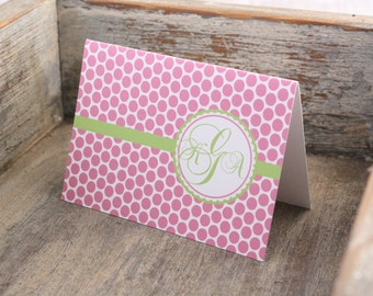 Monogrammed Stationery Dots Personalized Stationary Thank You Notes Set of 12 Custom Notecards Monogram
