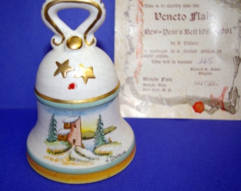 Vintage Christmas Bell, by Veneto Flair, Italy, Limited Ed, COA, Hand etched, Hand painted, Artist Signed, 1980 1981