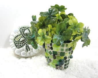 RESERVED for CARRIE - St. Patrick's Day shamrocks and green mosaic pots (no clover)  in shades of green-