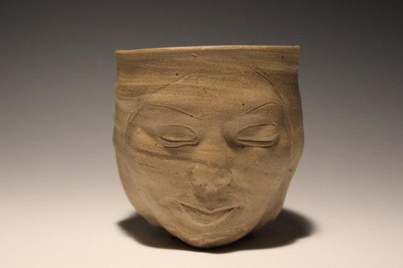 Planter Head Face Sculpture Ceramic Flower Pot Indoor By