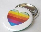 Rainbow Heart Pinback  Button or Magnet, Pinback Button Badge, pins for backpacks, Pinback Button gift, Button OR Magnet - 1.5″ (38mm)