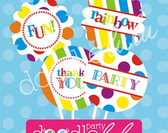 INSTANT DOWNLOAD DIY Party Decorations Rainbow Birthday Printable Digital Circles/Cupcake toppers - 8 Designs from Doodlelulu by 2 june bugs