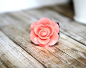 Creamy Pink Flower and Copper Filigree Adjustable Flower Ring, Filigree Ring, Holiday Accessory, Holiday Gift