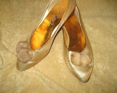 Vintage 50s Gold Lame Flats with Mink Tassels - Size 7 1/2
