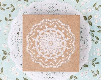 Big LOVELY LACE fancy vintage theme rubber stamp