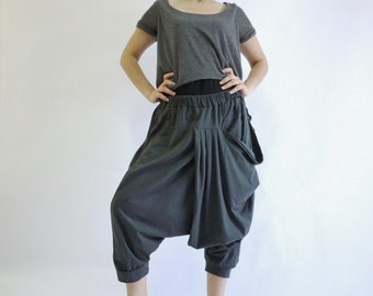 Funky Harem Boho Drop Crotch Dark Charcoal Grey Cotton Jersey Pants With Front Pocket And Elastic Waist
