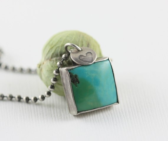 Turquoise Heart Necklace Graduation Rustic Sterling Silver