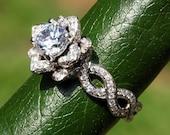 EVER BLOOMING LOVE - Diamond Engagement Rose Lotus Flower Ring - Setting Semi mount - Infinity - Beautiful Petra Patented Design - fL06