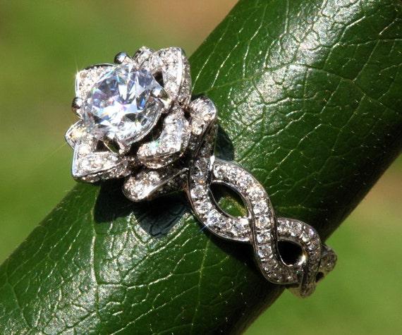 Lotus Flower Engagement Ring Gemvara