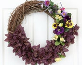 Purple Grapevine Floral Wreath // Summer Wreath // Spring Wreath // Summer Wreaths for Door