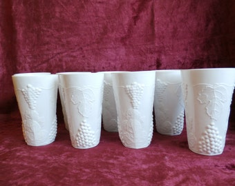 8 Harvest Grape Colony White Milk Glass Iced Tea Tumblers Indiana Glass