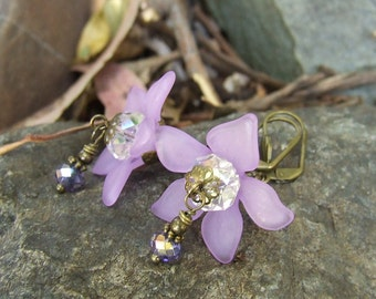 Purple Lucite Flower Fairy Earrings with sparkling crystal and bronze metal - BLISS - Spring inspired feminine design