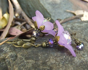 Purple Lucite Flower Fairy Earrings with sparkling crystal and bronze metal - BLISS - Spring inspired feminine design by White Raven Designs