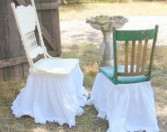Captivating French Country Bleached Cotton Muslin Chair Skirt Shabby Frayed Ruffle