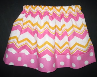 Girls Skirt Chevron and Polka Dot