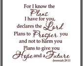 For I know the plans I have for you declares the Lord ; Jeremiah 29:11 - Vinyl Wall Decal - Bedroom Decals, Christian Wall Decal