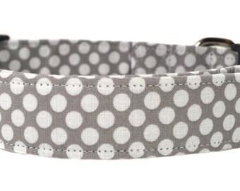 Polka Dot in Gray - Dog Collar