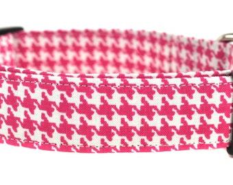 Pink Houndstooth - Dog Collar