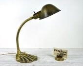 r e s e r v e d ... Vintage Industrial Brass Gooseneck Desk Lamp / Industrial Lighting