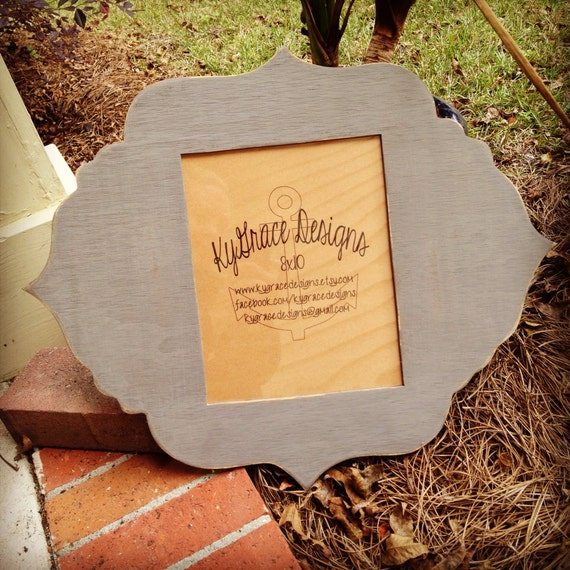 8x10 funky shaped picture frame distressed to shabbyiness