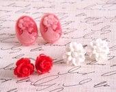 Red Cameo Earring Set, Cameo Earrings, Flower Earrings, Red Earrings, White Flower, Valentine's Day - Red Lady Cameo Earring Set