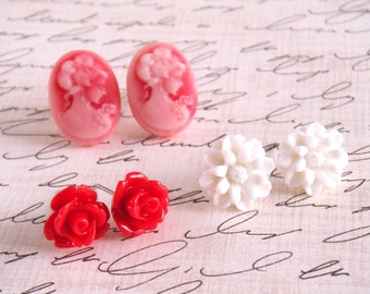 Red Cameo Earring Set, Cameo Earrings, Flower Earrings, Red Earrings, White Flower, Christmas Earrings - Red Lady Cameo Earring Set