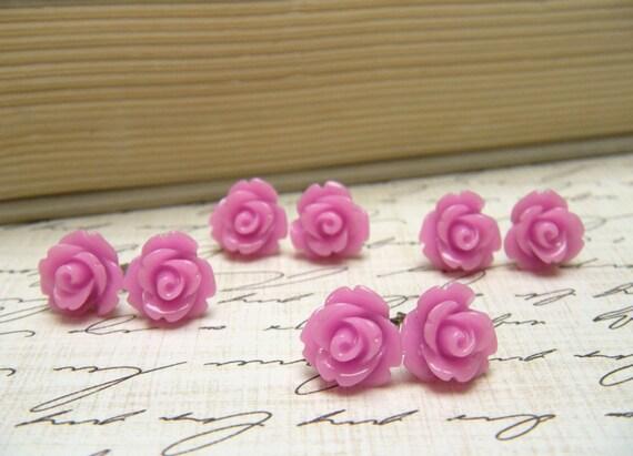 Four (4) Pair Tiny Lilac Flower Earrings, Purple Rose Earrings, Stud Earrings, Bridesmaid Jewelry, Vintage Style Earrings, Surgical Steel