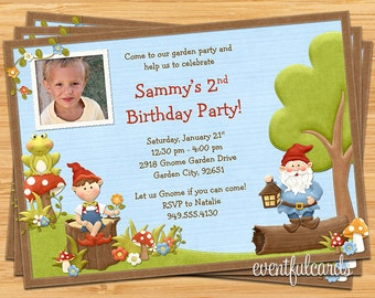 Kids Gnome Birthday Party Invitation