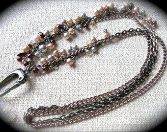 Gunmetal and Rose Chain Beaded Lanyard - Cranberry, Pink, Champagne, and Silver Pearls and Crystals