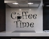Vinyl Wall Lettering Quotes Decals Kitchen Coffee Time Cup Sticker