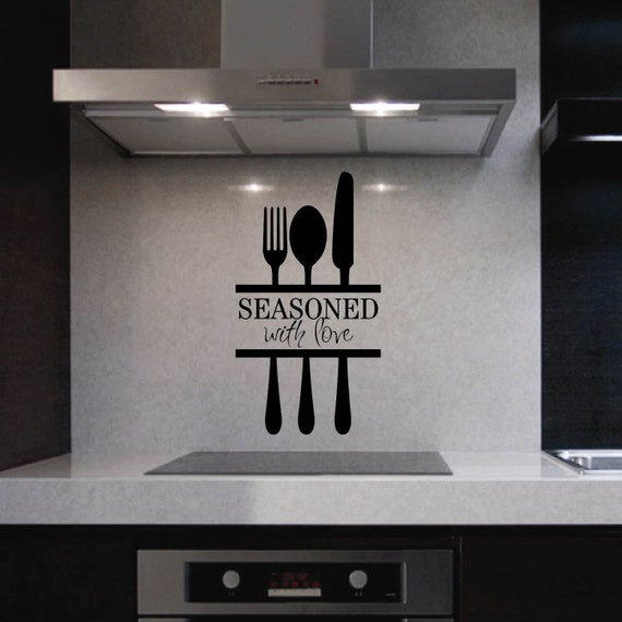 Seasoned With Love Kitchen Quote Vinyl Wall Lettering Vinyl