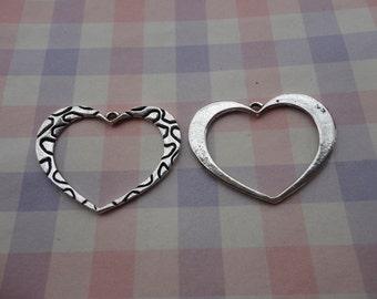10pcs antique silver heart findings 35x25mm