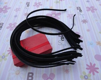 18pc black color satin covered metal headband with bent end thin 5mm