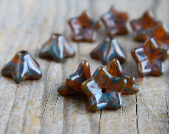 Glass flower beads, Czech glass beads, Glass 5-petal Trumpet Flower beads, 6X9mm, Opal Orange & Earthy Navy Picasso Finish (20pcs) NEW
