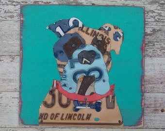 Customized Pet Portrait Bulldog Dog License Plate Artwork - Navy Aqua Teal Red - Sealife Beach Nautical - Recycled Vintage - Upcycled Art