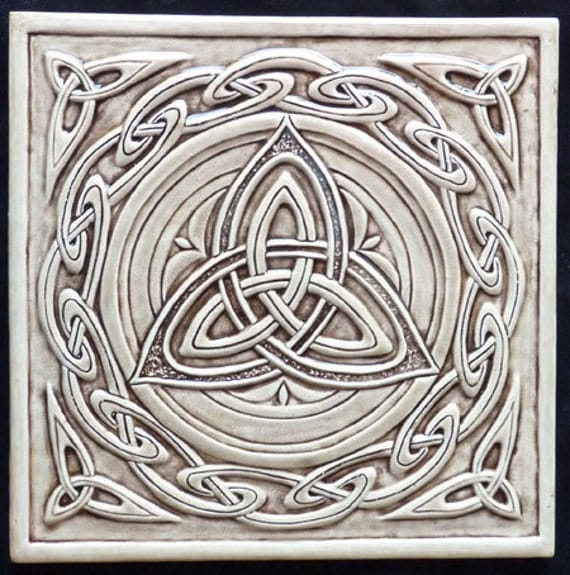 Relief carved celtic trinity ceramic tile