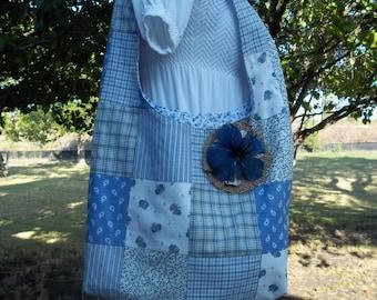 Tote Bag - Vintage Blue Patchwork Hobo Bag