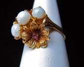 Vintage Gold Opal & Ruby Cocktial Ring Italian