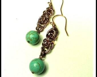 Byzantine Chainmaille Earrings in Copper with  Magnesite  Accents Custom Made to order