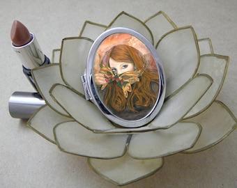 Autumn Masque Compact Fantasy Art Mirror
