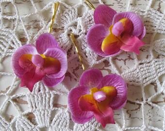 Hawaiian Light Purple Orchids SET OF 3 bobby pins flowers-hair clips - Weddings