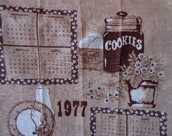 Vintage Linen 1977 Calender Tea Towel